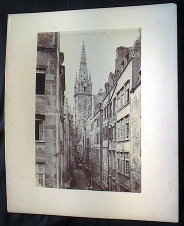 C 1880 Large Format Photograph of a Street in France, a View of a Narrow Passage with Church Spire in the Background, Cafe Henry, Hotel d La Marine, Cafe Francois, Other Establishments. France.