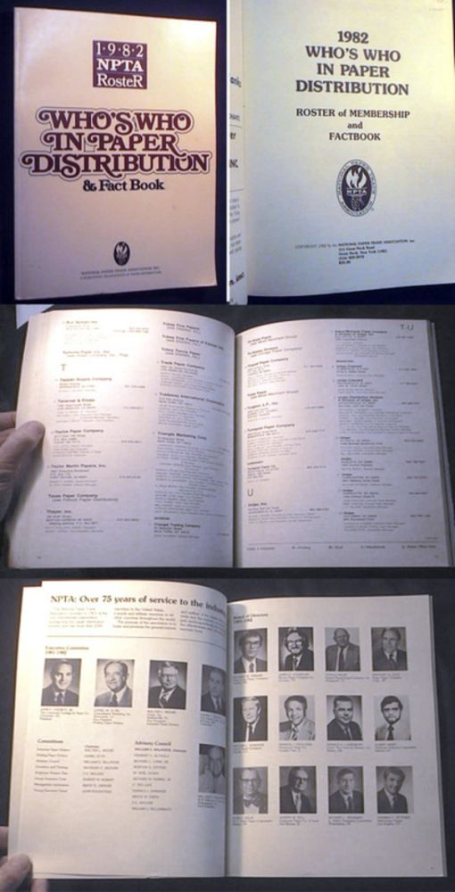 1982 Who's Who in Paper Distribution Roster of Membership and Factbook. National Paper Trade Association.