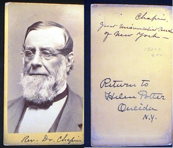 Carte-de-Visite Photograph of Rev. Dr. E.H. Chapin. Rev. Dr. Chapin.