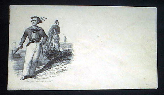 Engraved mailing envelope by C. Magnus, with vignette of armed Naval personnel, cavalry, infantry in background as well as boats in harbor in Distance. Charles Magnus.