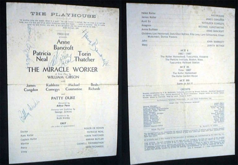 Playbill for The Playhouse Theatre Fred Coe Presents The Miracle Worker Signed By Star Performers Anne Bancroft, Patrcia Neal, James Congdon & Patty Duke. The Miracle Worker.