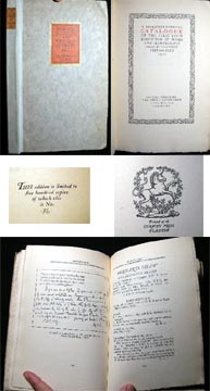 A Bibliographical Catalogue of the First Loan Exhibition of Books and Manuscripts Held By the First Edition Club 1922. First Edition Club.