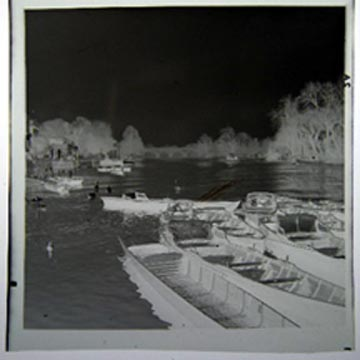 Photographic Negative of Wooden Boats on a River, Possibly Hanover Germany on the Leine Circa 1949. Photography.