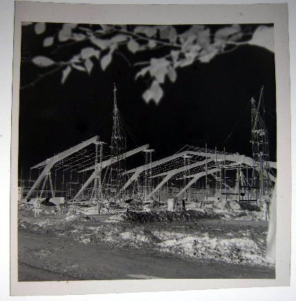 Photographic Negative of an Industrial Building Under Construction Showing Workers and MacHinery, Possibly Hanover Germany Circa 1949. Photography.