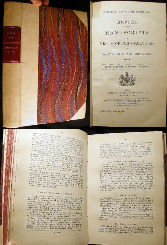 Reports on the Manuscripts of Mrs. Stopford-Sackville, of Drayton House, Northamptonshire. Vol. I. Presented to Parliament By Command of His Majesty. Historical Manuscripts Commission.