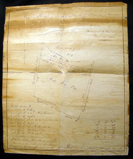 1852 Manuscript Map of Land at Lawrence's Point In Newtown Long Island Sold By Dan.'l Lent to Mrs. Mary Lawrence Mary R. Stryker and Mr. James Moore: Surveyed By Corn.'s Hyatt Dec. 13th, 1852. Newtown.