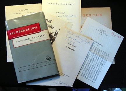Collection of Paul Engle Poetry Books and Broadsides Including: The Word of Love A Book of Poems, Book and Child, Arden-America, A Name, An Old Palestinian Donkey, Three Poems, Why Poetry, For the Iowa Dead Most Items Signed Inscribed By Paul Engle. Paul Engle.