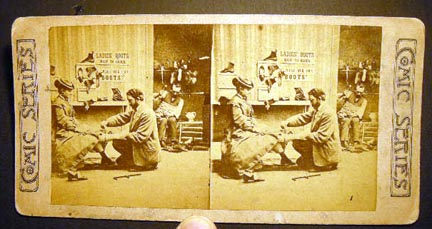 Stereoview Photograph Of a Lady Being Fitted for Shoes from the Comic Series. Humor.