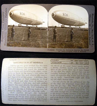 Stereoview Photograph Through the Uncharted Heavens She Blazed the Trail - Dirigible R-34 at Minneola. New York City.