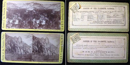 2 Photographic Stereoviews By E. & H.T. Anthony Co. Yo-Semite Valley and Sentinel Rock. Yosemite Valley.