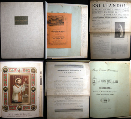 Collection of Ephemera relating to Events in Monticelli D'Ongina Italy, Relating to Christian Feasts And Celebrations 1899-1925. Monticelli D'Ongina.