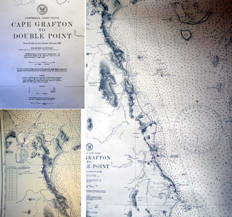 1944 Map of Australia - East Coast Cape Grafton to Double Point from British Surveys Between 1848 and 1924. Australia.