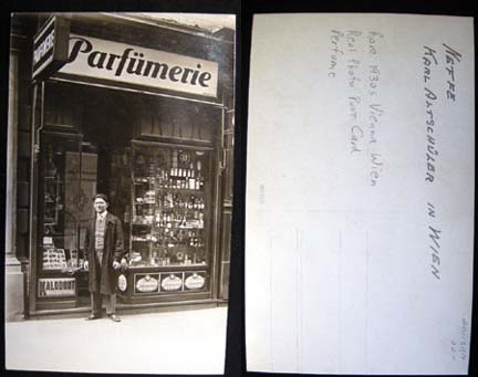 C 1930 Real Photo Postcard of a Parfumerie (Perfume Shop) in Vienna Identified as Neffe (Nephew) Karl Altschuler in Wien. Perfume.