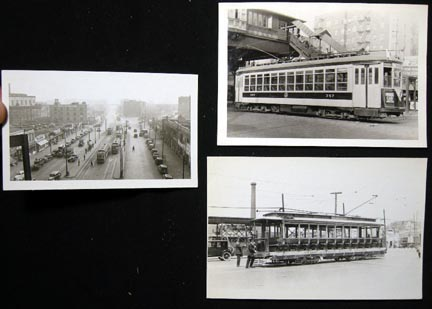 C 1937-49 3 Snapshots of New York City Trolleys: 1937 West Farms from 'L' Station with 7 Cars in View; Forsyth 8-275 TARS # 1588 Bronx Van Cortlandt Line; 1949 Fantrip Car B'Way & 242nd St. Yonkers Ry 357. New York City.