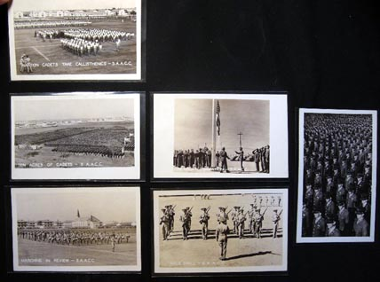 C. 1944 Group of 6 Real-Photo Postcards of the San Antonio Aviation Cadet Center: Rifle Drill, Marching in Review, Retreat Formation, Taking Callisthenics, 'Ten Acres of Cadets' Standing on Parade Review; and a Closer Group Photograph of Cadets. San Antonio Aviation Cadet Center.