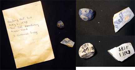 C. 18th Century 2 Ceramic Fragments from Baiting Hollow Long Island Evidently from an Archaeological Search There in 1978. Long Island.