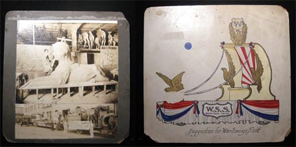 1923 Large Format Photographs Messmore & Damon Shrine Decorations for Washington D.C. Of Artist in Their Studios and Sculptures Loaded on Trucks (with) Original Artwork on Back Depicting a War Savings Float Idea. Messmore, Damon.