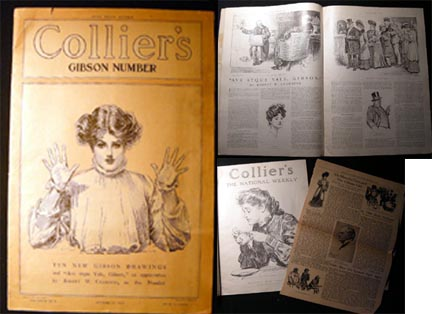 """Collier's October 21, 1905 Vol. XXXVI No. 4 Gibson Number New Stand Edition Ten New Gibson Drawings and """"Ave Atque Vale, Gibson,"""" an Appreciation By Robert W. Chambers. Collier's."""