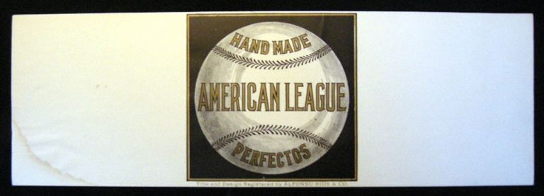 "Early 20th century ""Hand Made American League Perfectos Title and Design By Alfonso Rios & Co."" Cigar Label. Alfonso Rios, Co."