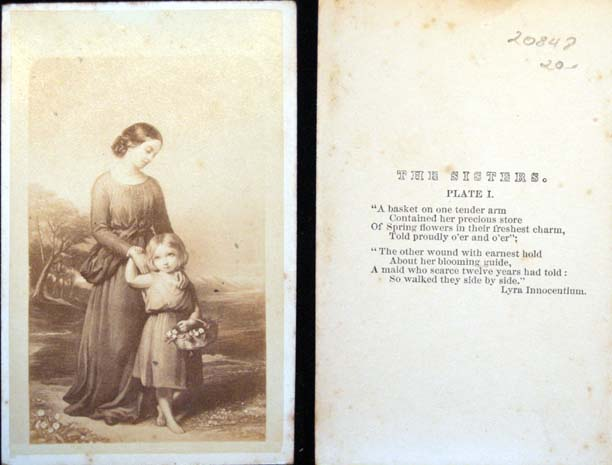 C. 1865 Carte-De-Visite Photograph of The Sisters with Poem By John Keble. Photography.