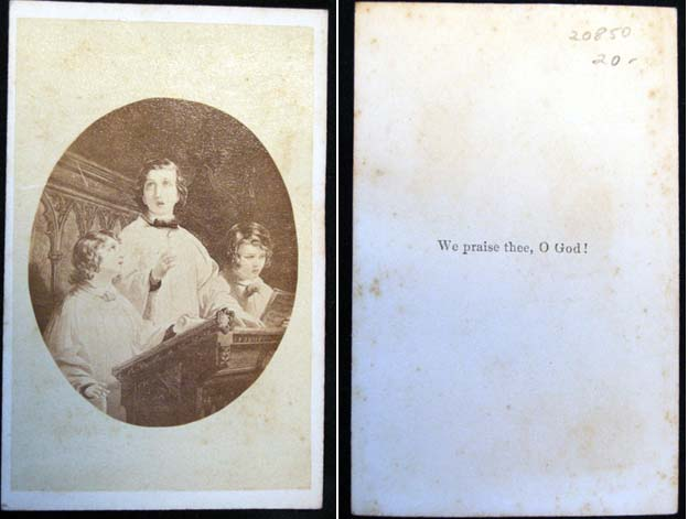 "C. 1865 Carte-De-Visite Photograph of Artwork ""We Praise Thee, O God!"" Photography."