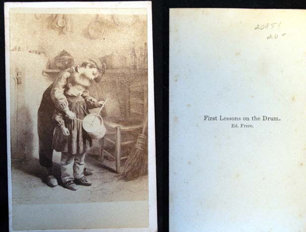 """C. 1865 Carte-De-Visite Photograph """"First Lessons on the Drum"""" By Ed. Frere. Photography."""