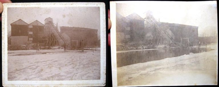 C. 1900 Cabinet Card Photograph + a Snapshot of an Ice Processing Plant in Operation. Photography.