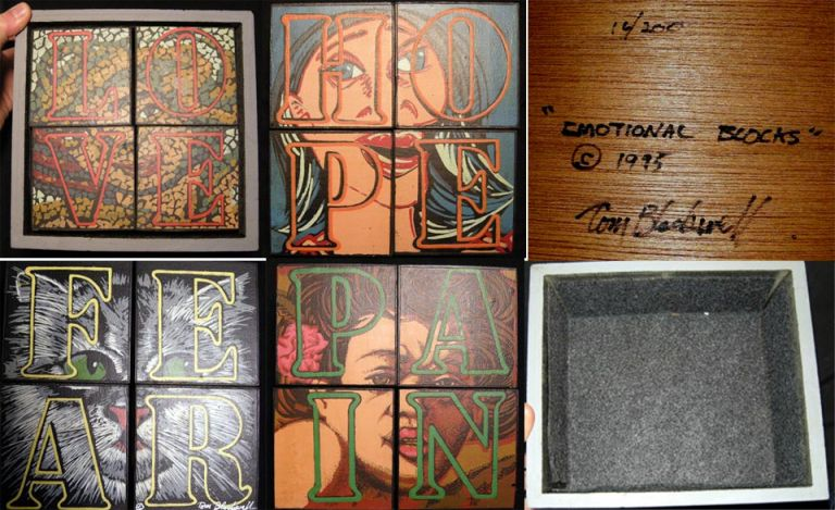 """1995 """"Emotional Blocks"""" Artwork Signed By Tom Blackwell: A Set of Changeable Wooden Blocks in Custom Box with Screenprinted Depictions of Various Emotional States. Art."""