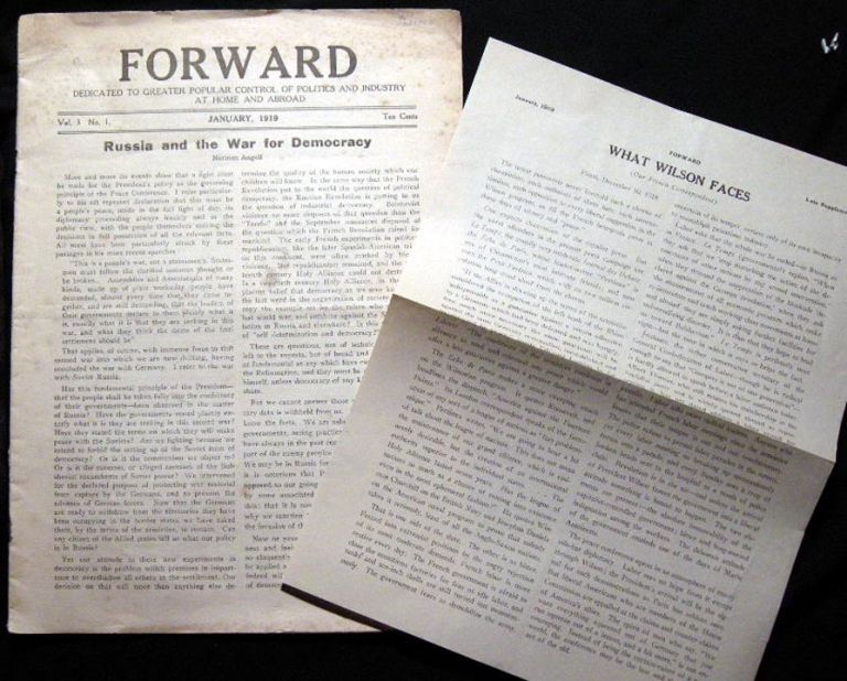 Forward Dedicated to Greater Popular Control of Politics and Industry at Home and Abroad Vo. 3 No. 1. January, 1919. Forward.