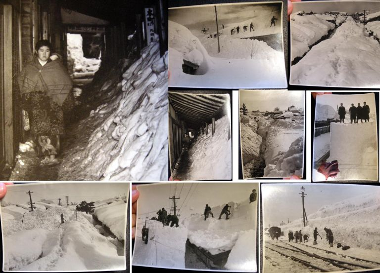 C. 1945 WWII era Group of 9 Original Photographic Images, Most Probably Hokkaido Japan with Crews Clearing Snow from Railways and Train Station. Japan.