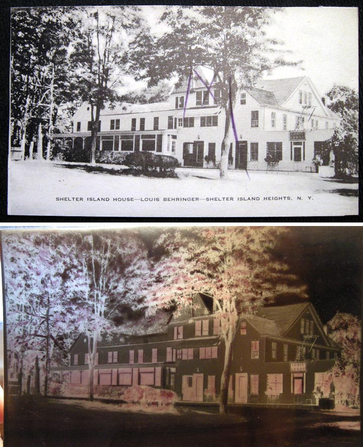 Postcard with original printers' Negative of Shelter Island House - Louis Behringer - Shelter Island Heights, N.Y. Shelter Island.
