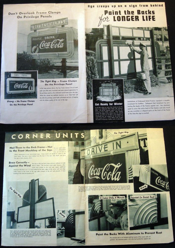 Circa 1950 Coca Cola Bottler Instructions for Correct Installation and Care of Deluxe Coca-Cola Embossed Metal Street Signs. Coca Cola.