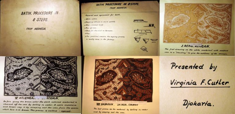 Batik Procedure in 8 Steps from Indonesia: Manuscript Portfolio with Original Fabric Artwork and Text Presented By Noted Mormon Educator Virginia F. Cutler. Textile Design History.