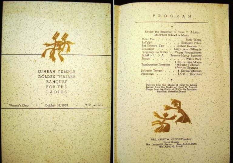 Zuhrah Temple Golden Jubilee Banquet for the Ladies Woman's Club October 18, 1935 Program Souvenir. A A. O. N. M. S. [Shriners.