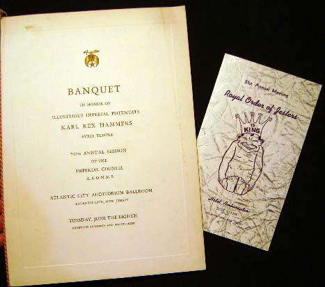 Banquet in Honor of Illustrious Imperial Potentate Karl Rex Hammers Syria Temple 74th Annual Session...A.A.O.N.M.S. Atlantic City Tuesday, June 8th 1948 (with) 31st Annual Meeting Royal Order of Jesters Hotel Ambassador June 7, 1948 Souvenir Menus. A A. O. N. M. S. [Shriners.