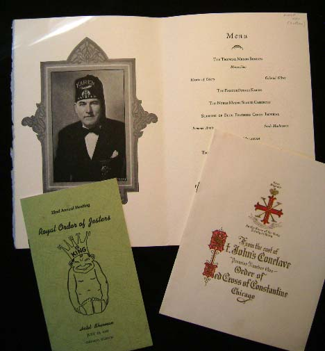 Diamond Jubilee A.A.O.N.M.S. July 18th to 22nd 1949 Chicago, Illinois The Stevens Hotel (with) Royal Oder of Jesters Hotel Sherman July 18 (and) Red Cross of Constantine July 16 Union League Club Menu Souvenir. A A. O. N. M. S. [Shriners.