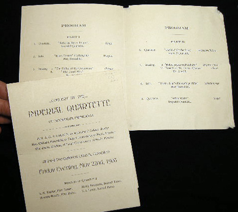 Concert By the Imperial Quartette of Moorhead, Minnesota...at First Presbyterian Church, Casselton Friday Evening, May 22nd, 1908. Imperial Quartette.