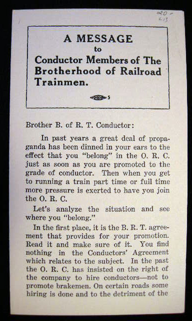 A Message to Conductor Members of the Brotherhood of Railroad Trainmen. Brotherhood of Railroad Trainmen.