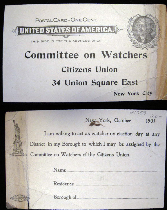1901 Postal Card for the Committee on Watchers Citizens Union. Citizens Union.