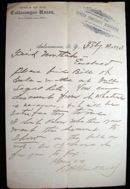 February 10, 1893 Autograph Letter Signed on Cattaraugus Union Newspaper Letterhead By R.H. Shankland, the Proprietor. Cattaraugus Union.