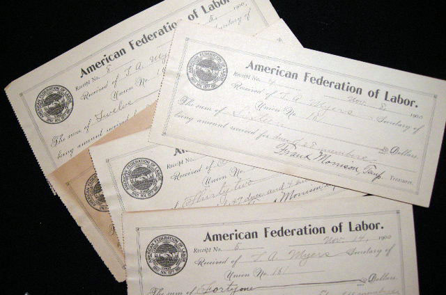 1900 5 Receipts Signed By Union Leader Frank Morrison of the American Federation of Labor to Thomas A. Myers Secretary of Union No. 161. American Federation of Labor.