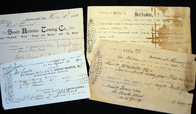 1900 - 1906 4 Partially Printed Documents Relating to the Shipping Business of Swan & Son, New York. Swan, Son Ship Chandlers.