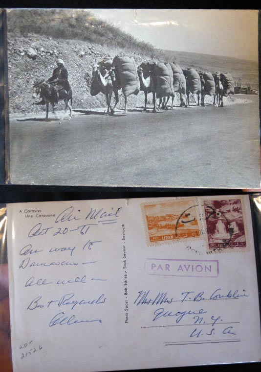1961 Real-Photo Postcard of a Camel Caravan on the Road to Damascus By Photo Sport - Bab Edriss -Souk Seyour Beyrouth. Photography - Beirut.