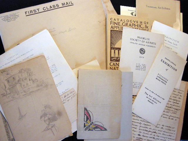 1900-1959 Group of Materials Illustrating the Creative Life of William Steeple Davis, Orient Long Island New York Fine Artist Including Original Sketches, a Typed Manuscript of a Nautical Book, Art & Photography Exhibition Catalogs & Articles. William Steeple Davis.