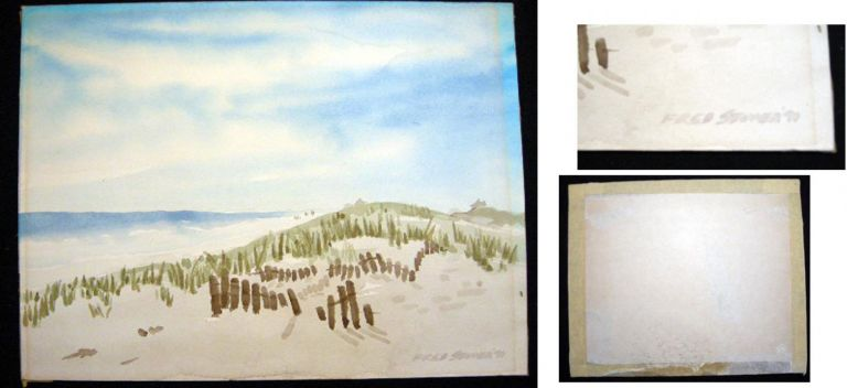 1970 Watercolor Dunes Landscape Signed By East Hampton Long Island Artist Fred Stover. Long Island Art - Fred Stover.