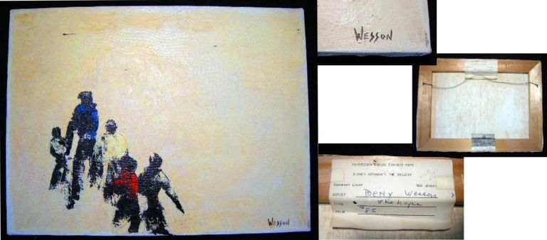 """1970 Oil on Canvas Signed By Betty Wesson """"The Hope"""" with the Exhibition Label of the Thirteenth Annual Exhibit 1970; with Sidney Rothman The Gallery Barnegat Light New Jersey Provenance. New Jersey Art - Betty Wesson."""