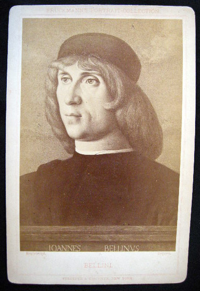 C. 1880 Cabinet Card Albumen Photograph of a Portrait of Giovanni Bellini By Stroefer & Kirchner. Giovanni Bellini.