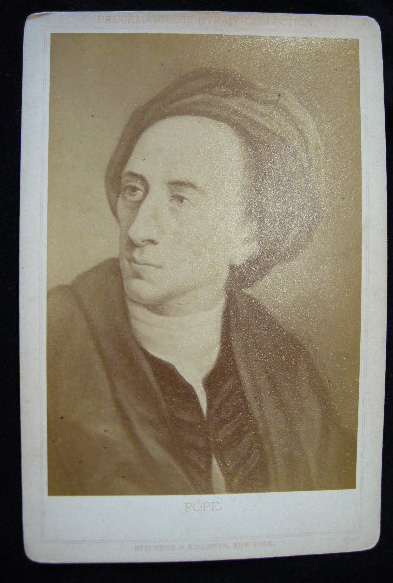 C. 1880 Cabinet Card Albumen Photograph of a Portrait of Alexander Pope By Stroefer & Kirchner. Alexander Pope.