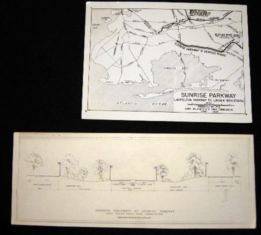 1934 2 Photographs of Plans for Sunrise Parkway Laurelton Parkway to Linden Boulevard (with) Proposed Treatment of Sunrise Parkway Landscaping Cross-Section. Americana - Planning, Development - Transportation.