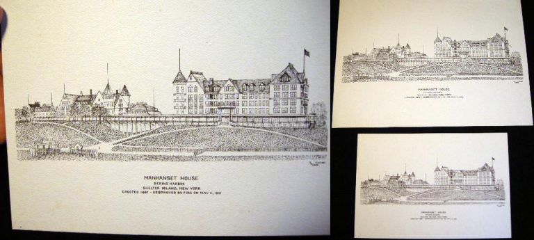 Manhanset House Dering Harbor Shelter Island, New York: Small and Large Pen & Ink Drawing Architectural Prints By J.M. Webb. Americana - Art - Manhanset House Shelter Island NY.